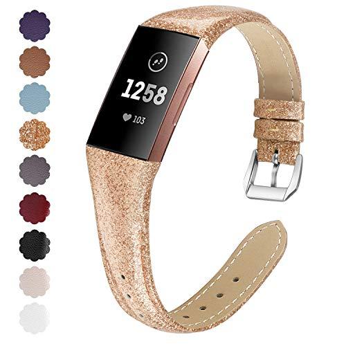 KIMILAR Armbänder Kompatibel mit Fitbit Charge 4 / Charge 3 Armband Leder,Ersatzband Zweifarbig Band Uhrenarmband für Charge 4/3/SE Fitness Tracker Damen Herren -Champagner Gold,L