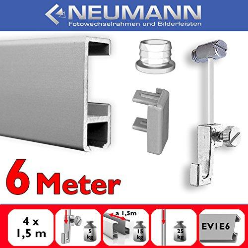 Neumann Bilderrahmen Juego de rieles para galeria, 6 m, Deslizadores de Tornillo, Plata Mate