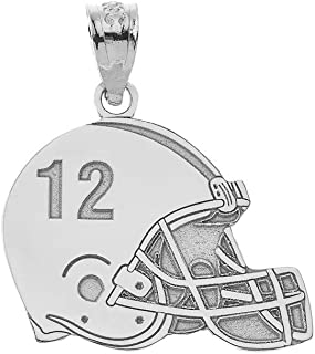 Sports Charms 925 Sterling Silver Customized Football Helmet Pendant with Your Name and Number