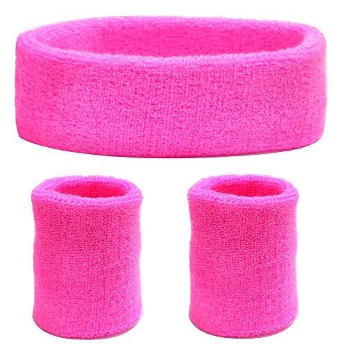HAPPY FINDING 3 Stück Schweißbänder Set, Männer und Damen Sport Handgelenk und Kopf Schweissband Baumwolle Schweißband für Laufen Fahrrad Joggen Tennis Fußball (Pink)