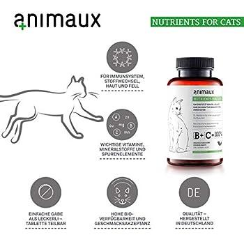 animaux nutrients for cats – complément multivitaminé pour chats avec minéraux, oligo-éléments & taurine - Idéal pour soutenir le métabolisme, système immunitaire, défenses, peau saine et beau poil