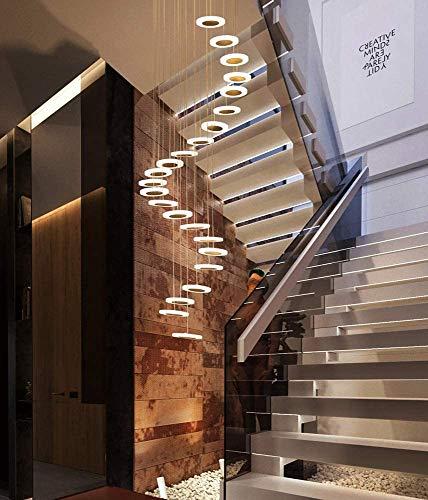 Treppen Flur Pendelleuchte Rund Decke Hängelampe Moderne Hängeleuchte Kreative Pendellampe LED Warmweiß Hängende Lampe Kronleuchter Loft Treppenhaus Hall Hotel Shop Dekoration Leuchte