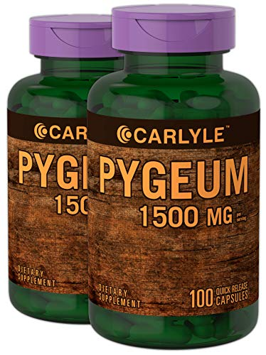 Pygeum Africanum Bark 1500 mg 2 x 100 Capsules Twin Pack | High Potency Extract | Supports Prostate Health | Non-GMO, Gluten Free Supplement | by Carlyle