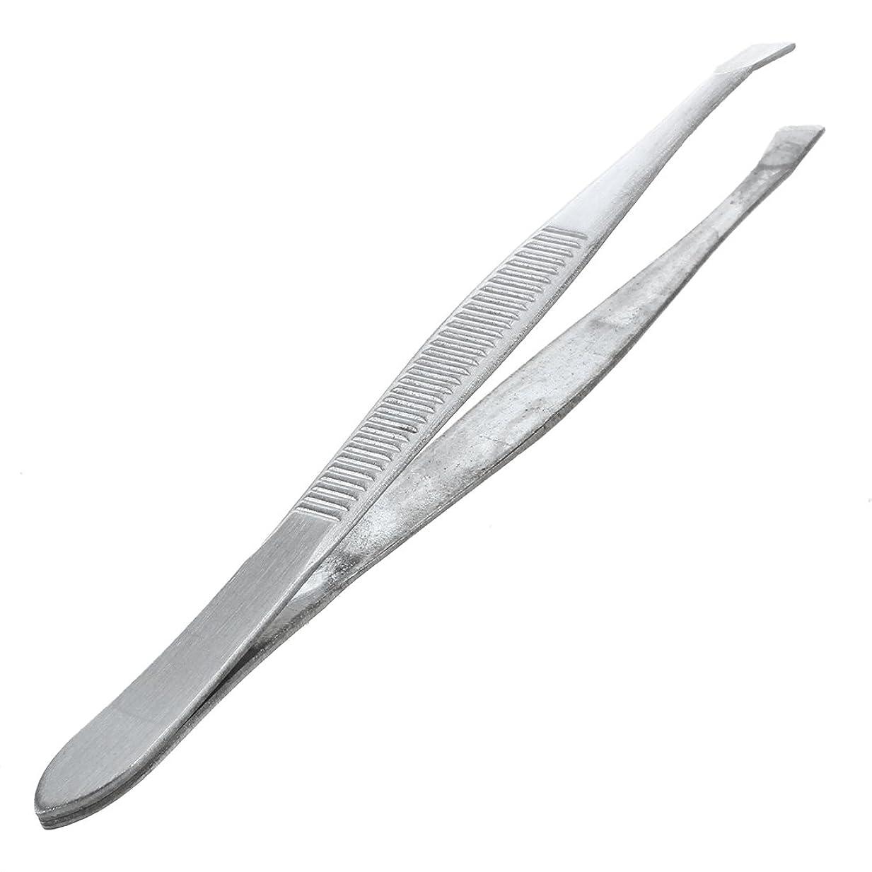 表現創造ヘルパーACAMPTAR 眉毛ピンセット 脱毛チップ 炭素鋼 傾斜 9cm シルバーカラー