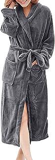 Men Women Bathrobe, Male Solid Long Sleeve Fleece Robe Soft Plush Warm Sleepwear with Belt