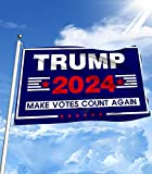 Trump 2024 Flag, Make Vote Count Again Flags with Brass Grommets for Dorm Room Decor, Indoor Outdoor flags & banners 3x5 Ft Sign