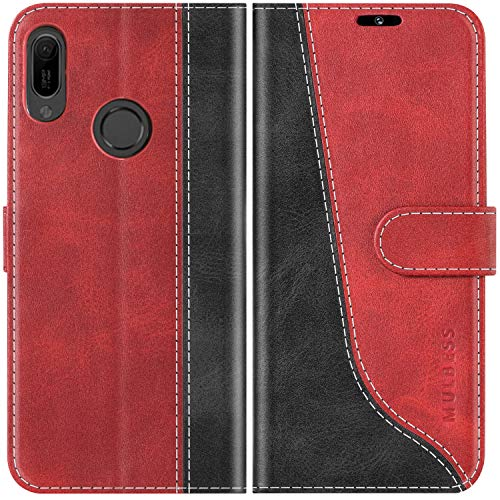 Mulbess Handyhülle für Huawei Y6 2019 Hülle Leder, Huawei Y6 2019 Handy Hüllen, Modisch Flip Handytasche Schutzhülle für Huawei Y6 2019 / Honor 8a, Wine Rot