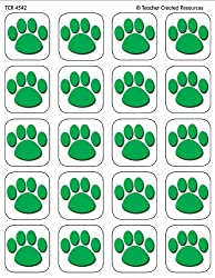 Teacher Created Resources Green Paw Print Stickers 4542