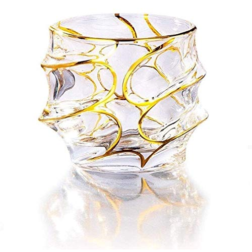 Gamvdout Familie versammeln Whisky Decanter Vergoldung Gold Kristall UsqueBaugh Wine Cup Whisky Glass Whisky Gläser Brandy Senfter (Color : C)