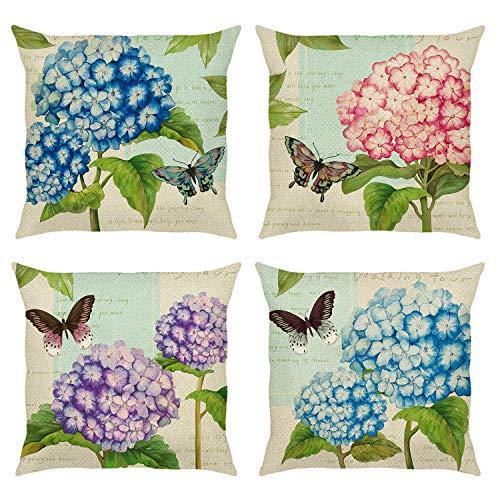 Bonhause Juego de 4 Funda de Cojín 45x45cm Vintage Flores de Hortensia y Mariposa Algodón Lino Fundas de Almohada para Cojines Decorativos para Exterior Sofá Cama Coche Hogar
