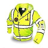 KwikSafety (Charlotte, NC) MARSHAL Bomber Safety Jacket (Multi-Use Rugged) Class 3 Hi Visibility Water Resistant ANSI OSHA Reflective Warm Lightweight Winter Construction Gear Men | Yellow 2XL