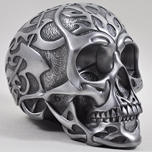 Tribal Skull medium silber - Totenkopf Deko Figur