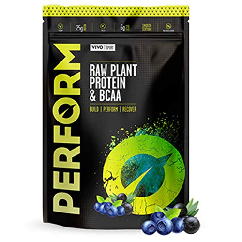 Vivo Life Perform - Raw Vegan Protein Powder Pea & Hemp Blend with BCAA - Gluten & Soy Free Shake - Compostable Bag (Acai Berry & Blueberry, Small)