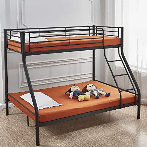 Deco In Paris Etagenbett für 3 Personen, Metall, Schwarz, 90 x 190 cm und 140 x 190 cm