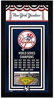 Photo File New York Yankees Miniframe 2009 World Series Championship Banner 6.75x13 Framed with Glass and Ready to Hang