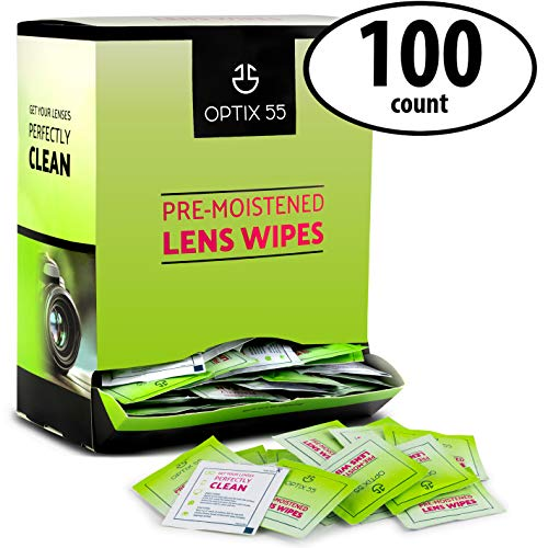 Eyeglass Cleaner Lens Wipes - 100 Pre-Moistened Cleaning Cloths - Glasses Cleaner Wipe Safely Cleans Eye Glasses, Sunglasses, Screens, Electronics, Computer Monitor and Camera Lense | Streak-Free