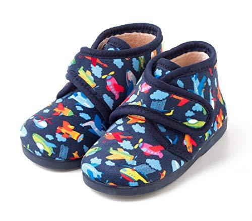 TEX - Zapatillas de Casa para Niños, estilo Bota, Cierre Velcro, Estampado, Azul marino, 22