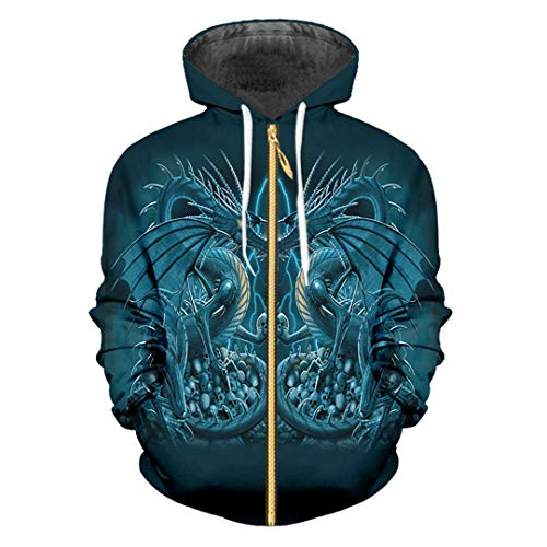 Animal Zip Cool Print Blue Dragon 3D Sudadera para Mujer/Hombre Manga Larga con Capucha Blue Dragon Skull 5XL