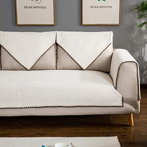 JXJ Funda de sofá de Lino de algodón Blanco Puro Simple Modern Seasons Funda de sofá Antideslizante Universal Funda Protectora de Muebles seccional Antideslizante A Prueba de Mascotas, B, 70 * 1