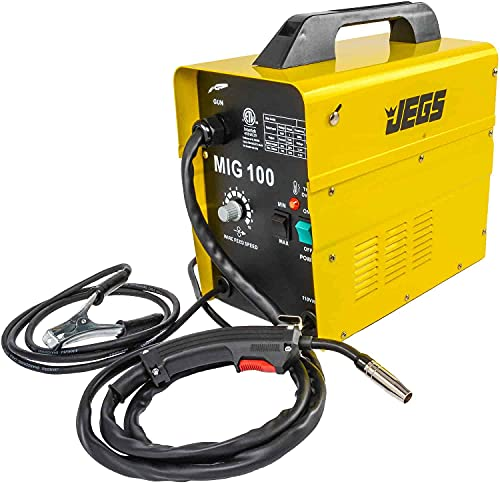 JEGS MIG 100 Gasless Welder | 110V AC | 20 Amps of Input Current | Includes Hand-Held Mask, Wire Brush, Spool of Wire, Welding Torch and One-Year Warranty | Simple Controls and Operation