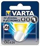 Varta Pila de botón de litio de 3V VARTA Electronics CR1616, pilas de botón en un blíster original de 1 unidad, gris