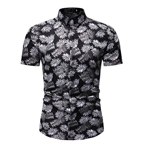 Shirt Playa Hombre Manga Corta Ajustada Estampado Moda Hombre Shirt con Botones Verano Tapeta con Botones Cuello Kent Hombre Shirt Ocio Negocios Hawaii Hombre Camisa B-White(A) L