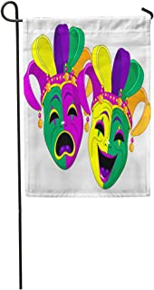 Semtomn Garden Flag Purple Carnival Mardi Gras Comedy and Tragedy Masks Green Orleans Home Yard House Decor Barnner Outdoor Stand 12x18 Inches Flag