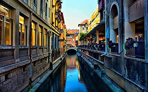 JYTD Häuser entlang eines Kanals in Frankreich 1000 Stück Puzzle Geschenk 75 * 50CM