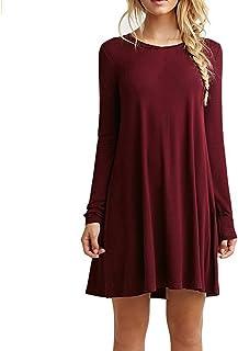 ZNYSTAR Mujeres Suelto Casual Vestido de Camiseta Cuello Redondo