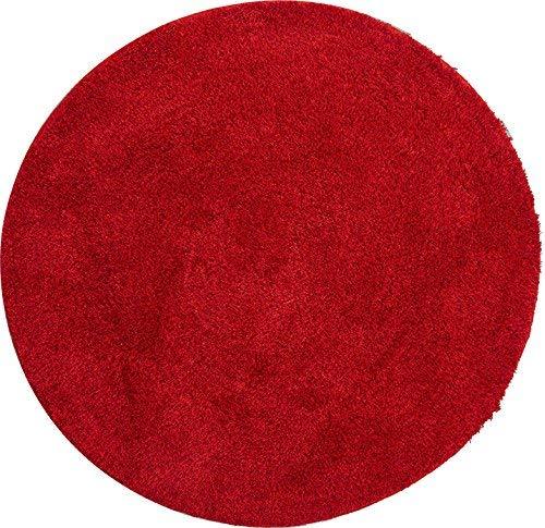 Grund badmat 32 mm 100% polyacryl, ultra zacht, antislip, Öko-Tex gecertificeerd, 5 jaar garantie, LEX, badmat 100 cm rond, robijn