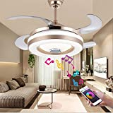 Chandelier Ceiling Fan with Bluetooth Speaker, Modern Retractable Ceiling Fan Chandelier with Music Player Dimmable Ceiling Fan with Lights and Remote for Dining Living Room
