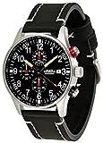 Astroavia N31L3 - Orologio da polso da uomo, cronografo, al quarzo, cinturino in pelle, colore: Nero