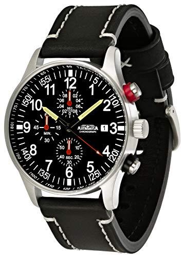 Astroavia Herren-Armbanduhr Chronograph Quarz Leder Armband schwarz N31L3
