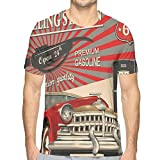 Mens 3D Printed T Shirts,Poster Style Image of Gasoline Station Commercial Kitschy Element Route 66 Retro Print XL