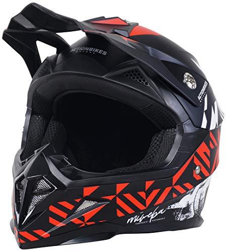 Actionbikes Motors Kinder Cross Helm Hornet ECE 22/05 Norm - Straßenzulassung - Motocross - Crosshelm - Downhill - Fullface (Rot, M)