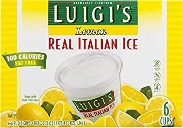 Luigi's Real Italian Ice, Lemon, 6 Ounce, 6 Count (Frozen)