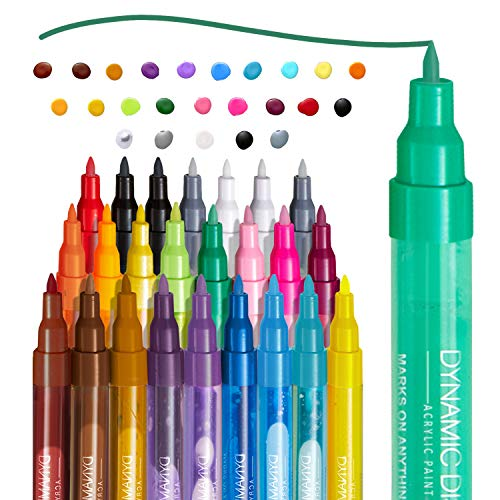 Acrylic Paint Marker Pens - 24 Acrylic Paint Markers for Fabric, Painting, Paper, Rocks, Metal, Ceramic, Porcelain, Glass, Wood & Canvas - Water Based Marker - Perfect for Artists, Students & Teachers