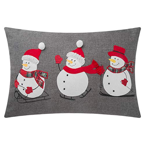 King Rose Snowmen Applique Accent Throw Pillow Cover Christmas Cushion Cover Decorative Pillowcase for Sofa Bed Living Room Couch 14 x 20 Inches