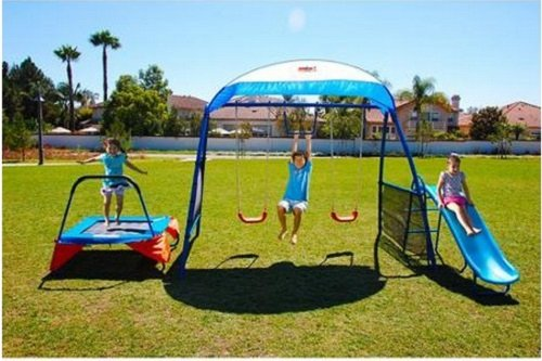 Kids Outdoor Playground Includes Trampoline, Swings and Slide