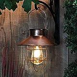 Wination Farol solar para colgar al aire libre, lámpara solar vintage con diseño de bombilla Edison blanca cálida para decoración de jardín, patio, patio, proca (cobre)