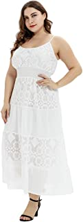 ROSIANNA Women's Vintage Floral Lace Plus Size Maxi Dresses with Spaghetti Straps Wedding Party