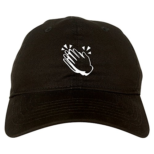 Clapping Hands Emoji Chest 6 Panel Dad Hat Cap Black