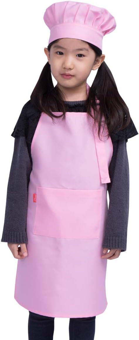 ALIPOBO Kids Apron and Chef HatSet, Children'sAdjustable Bib Apron with 2 Pockets. Cute Boys Girls Kitchen Apron forCooking,Baking,Painting, Training Wear(6-12 Year, Pink)