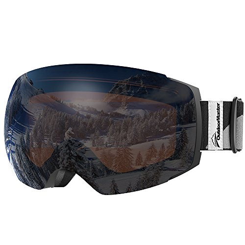 OutdoorMaster Ski Goggles PRO - Frameless, Interchangeable Lens 100% UV400 Protection Snow Goggles for Men & Women ( Black Frame VLT 24% Orange Lens with REVO Silver and Free Protective Case )