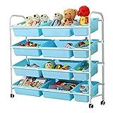 HYY-YY Unidad de almacenamiento de juguete, Marco Blanco Azul Toy Box organizador del almacenaje de la compra con ruedas y extraíble de plástico Contenedores (Color: Blanco Frame + Blue Box, tamaño: 1