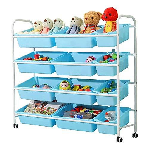 ZGQA-AOC Unidad de almacenamiento de juguete, Marco Blanco Azul Toy Box organizador del almacenaje de la compra con ruedas y extraíble de plástico Contenedores (Color: Blanco Frame + Blue Box, tamaño: