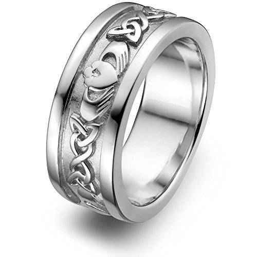 Sterling Silver Men's Claddagh Wedding Ring UMS-6345 Size: 11