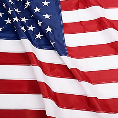 Anley EverStrong Series American US Flag 5x8 Foot Heavy Duty Nylon - Embroidered Stars and Sewn Stripes - 4 Rows of Lock Stitching - USA Banner Flags with Brass Grommets 5 X 8 Ft