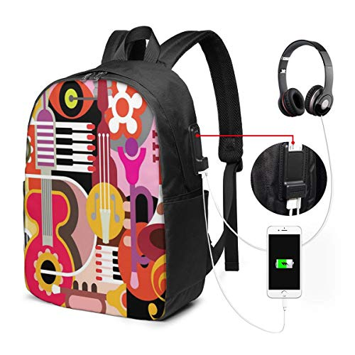 Backpack,Complex Graphic with Various Musical Properties Icons Keyboard Festival Piano Design