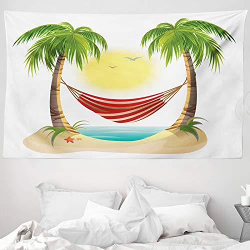 ABAKUHAUS Graphic Beach Wandtapijt, Hangmat tussen Palms, Stoffen Muurdecoratie voor Woonkamer Slaapkamer Slaapzaa, 230 x 140 cm, Veelkleurig
